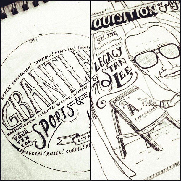 Working on a few illustrations for the next @Grantland33 Quarterly. Definitely a fun project. (Taken with Instagram)