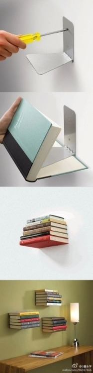 exhalelight:  Use book ends to create floating bookshelves