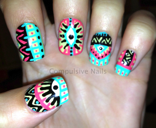 Pastel Aztec Eye Nails for sale at www.etsy.com/shop/compulsivenails