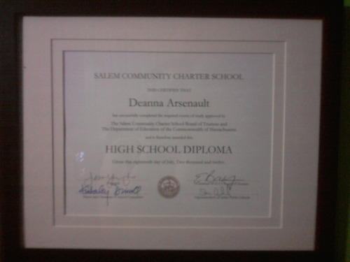 Just received my High School Diploma tonight. I literally never though that this moment would come. I had such low expectations for myself my whole life and tonight, I proved myself wrong. Just looking at it brings a tear to my eye because I've overcome so many things through my school and personal life. I can finally say that I'm proud of myself and that's the greatest feeling ever.