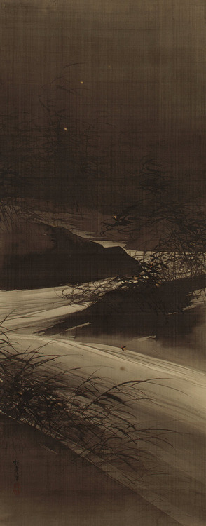 Fireflies over the Uji River by Moonlight, Meiji period (1868–1912) Suzuki Shonen (Japanese, 1849–1918)Hanging scroll; ink, gold, and color on silk 53 1/2 19 3/4 in. (135.9 x 50.1 cm), The Metropolitan Museum of ArtPurchase, Gift of Mrs. Russell Sage, by exchange, 1979 (1979.72) . This atmospheric picture of shining fireflies traveling above the grass-flanked Uji River in a distant suburb of Kyoto derives its theme from the famous eleventh-century novel The Tale of Genji (Genji monogatari) by Murasaki Shikibu. Chapter 45 tells of a widowed prince who is a devout Buddhist and lives in the secluded suburbs along the Uji River with his two young daughters. A central scene in the chapter tells of a clandestine visit by a youthful male courtier and his attempts to overhear the music and conversation of the two young ladies. The courtier secretly listens outside their veranda in the dark night. He is hindered, however, by the loud noise of the rushing Uji and by the night's rain and heavy mist. The inky night and heavy atmosphere of the story are conveyed in this painting by the dark sky, and the clamor of the Uji is suggested by the streaming water and the wind-swept reeds. Suzuki Shonen was a professional painter of Kyoto who specialized in landscape. The son of a painter, he received a number of commissions from local temples and taught Japanese-style painting at the Kyoto Prefectural School of Painting. .