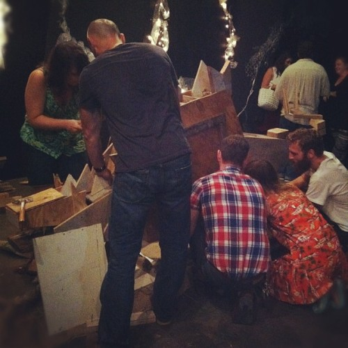 pleatsareforlovers:  How many people does it take to make a wooden dinosaur?  (Taken with Instagram at Littlefield)   Almost went to this thing? Dinosaurs + drinks + power tools = interesting way to spend a Wednesday evening.