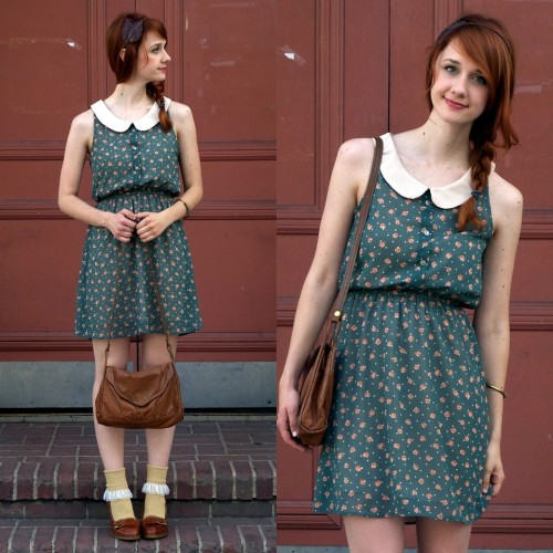 Leaves and Flowers (by Jane Bennet)&lt;br /&gt;<br /> Dress is from Modcloth&lt;br /&gt;<br /> Socks are from American Apparel