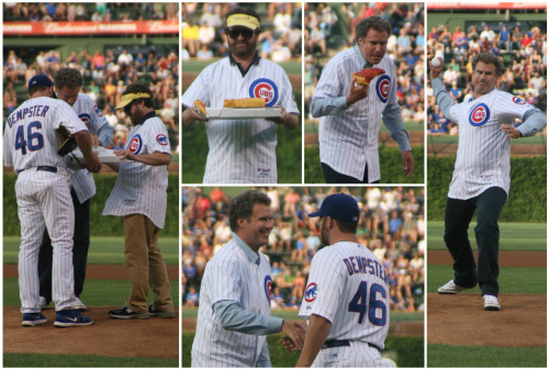 chicagocubs:  Will Ferrell and Zach Galifianakis battled for the winner of tonight's ceremonial first pitch. In between pitches, Will ordered pizza from D'Agostino's for Zach and Ryan Dempster.