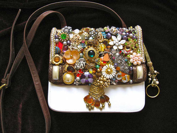 Daphne Vintage Jewelry Mosaic Embellished Purse by ArtCreationsByCJ at Etsy