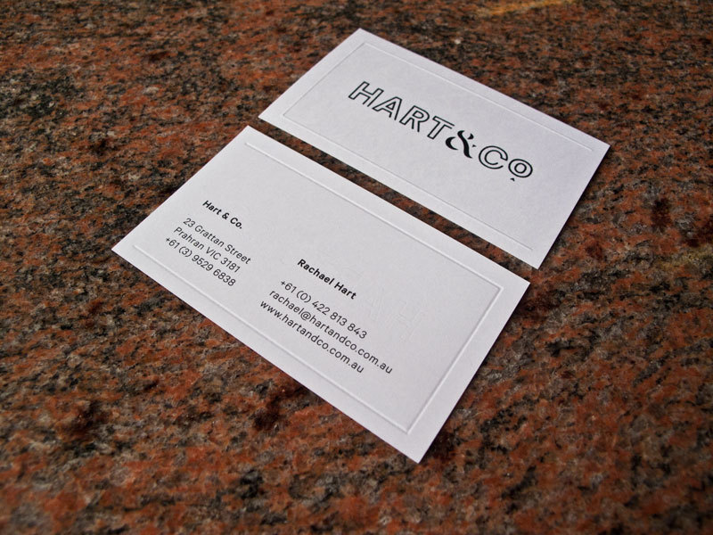 Hart&Co. business cards Verko & emBOSSing