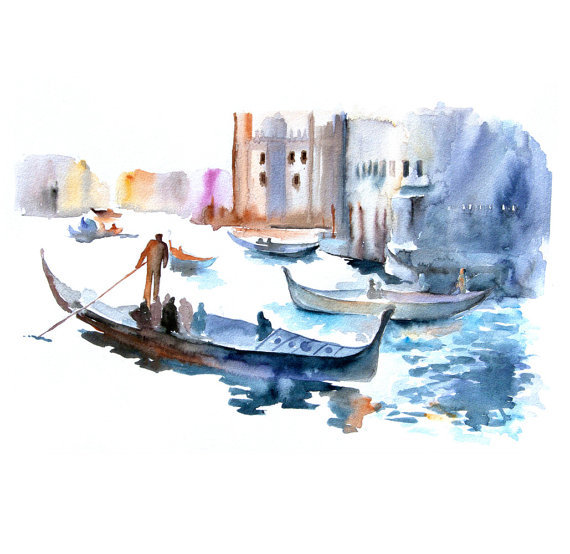 aplaceforart:  (via Venice Original watercolor painting Old City by fairysomnia)