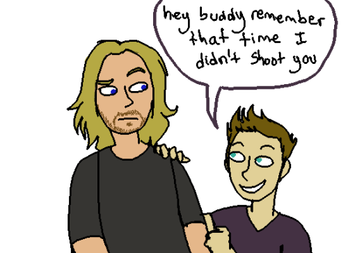 spookynippleninja:  verily-thor:  nippleninja:  clint thats not how you make friends   … I do not understand. When were you going to shoot me, Bird Man?     clint when did you even take the pictures