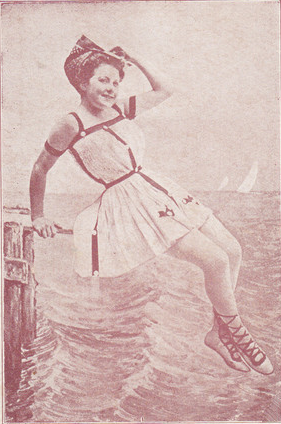 maudelynn:  1910s bathing beauty postcard!