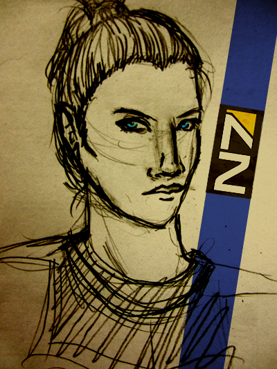 Oops I accidentally Commander Shepard (I hardly ever see any Shepards using the bun but frankly I'm thinking like holy shit I would not want to be wearing a full-head helmet like that with hair going everywhere. It would be all up in your eyes and face and such a pain in the ass so Shep just pulls it back, plus it makes her look all professional-like and people respect her so bonus)