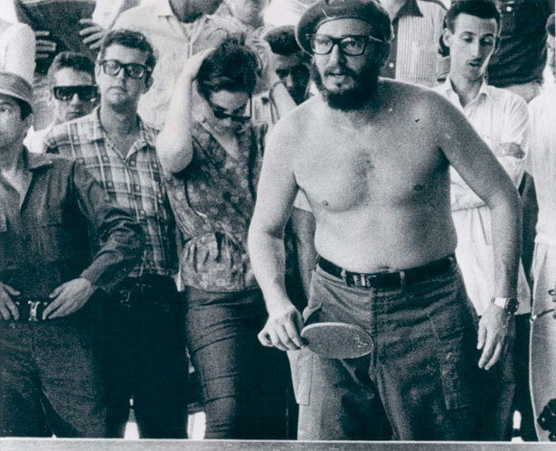 This is a young Castro playing ping pong shirtless. (via Exploding Chocolate, Poisoned Scuba Suits, and the Bulgarian Umbrella: A Survey of Strange Assassination Tech - Alexis Madrigal - The Atlantic)