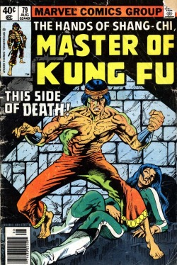 Shang-Chi and Leiko Wu by Mike Zeck on the cover of Master of Kung Fu vol. 1 #79.  August 1979.