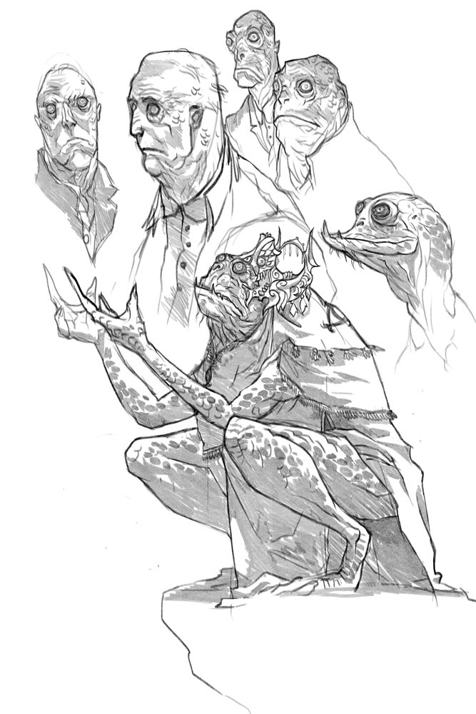 A couple of warm-up sketches of various Innsmouth denizens for Trevor Henderson's upcoming Lovecraft zine.