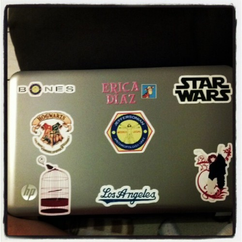 My laptop changed a few stickers :) #bones #starwars #hogwarts #harrypotter #dodgers #losangeles #florenceandthemachine #birdcage  (Taken with Instagram)
