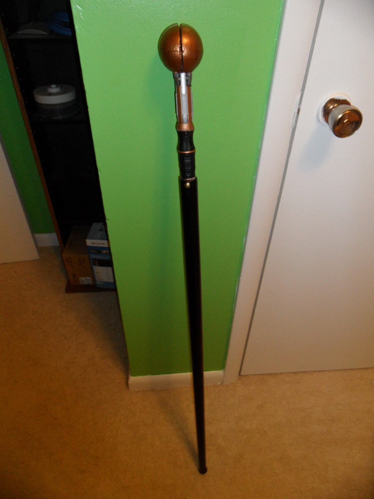 11th Doctor's Sonic Cane - based on the one from Let's Kill Hitler. Not the best, but I tried. Went with a little different approach due to what I could handle in terms of skills.Used a pool cue, Sonic Screwdriver, and a foam ball.
