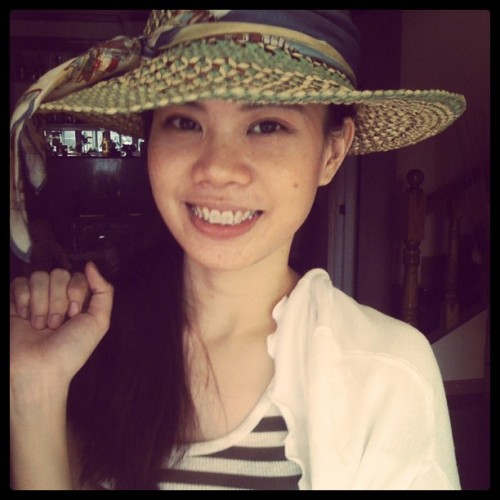 Tried on my aunt's hat.. =) (Taken with Instagram)
