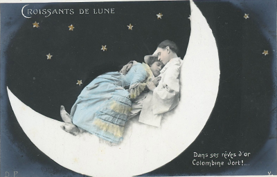 1910s Colombine & Pierrot postcard Goodnight, friends! xo