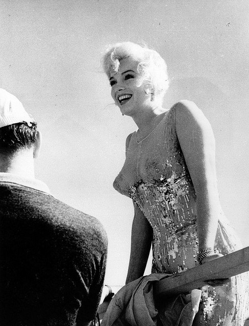 Candid photo of Marilyn Monroe on the set of Some Like It Hot