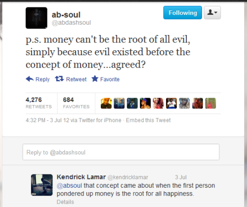 b0bby-james:  ab soul's tweet and kendricks reply , these guys are soo .. I cant explain it .