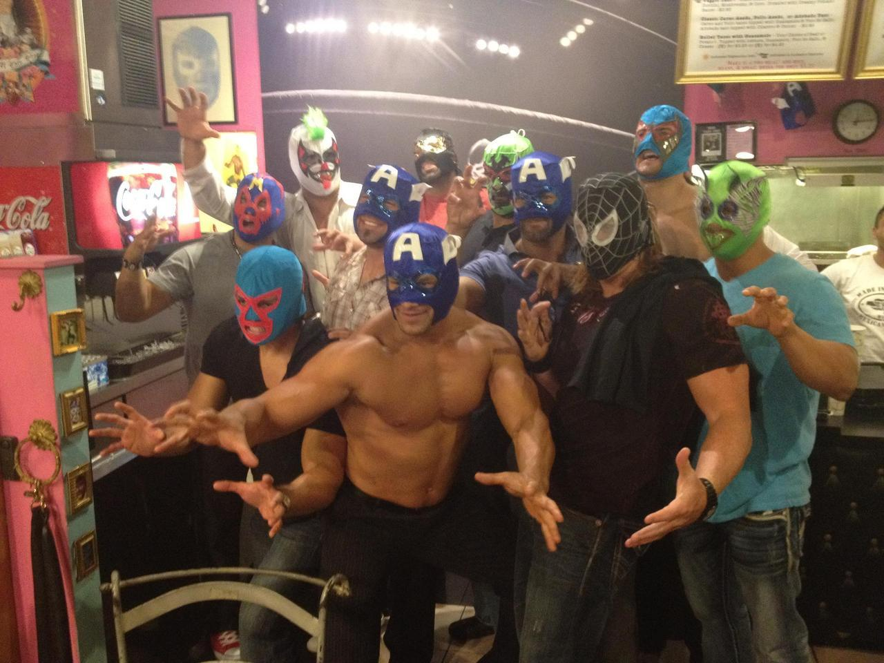 xlanda:   Lucha Libre Taco Shop: Alberto made everyone put on a lucha mask !  from Lucha Libre Taco Shop  I guess that he wanted the guys to know about how it felt for him, when he was in Mexico…question is, who is who?