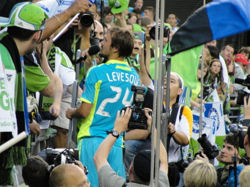 Roger Levesque, you will never be forgotten and will forever be missed! Thank you for honoring the fans after each game with a greeting, a smile, a handshake, a hug and a few autographs… and yes, sometimes the shirt off your back, your cleats and even your socks! You always took the time to come by the ECS & Gorilla FC seating areas and spent a few minutes of your time with us. Truly, a class act.  I hope the rest of your teammates learned from you… after all, without fans (aka attendance) there will be no team. Good luck on your MBA studies! I hope we can cross paths again. Sounder 'till I die!