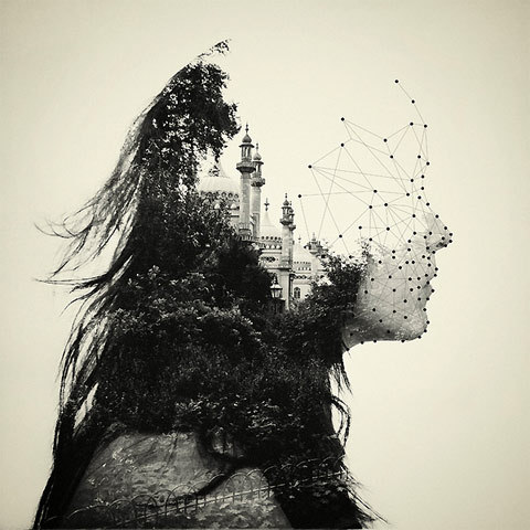 Double exposure portraits by Dan Mountford (via lostateminor).