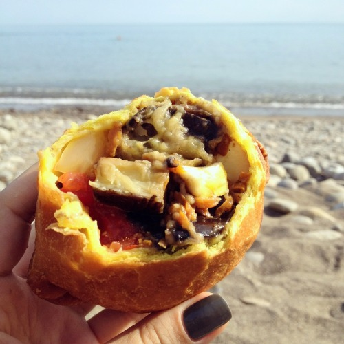 vegetable and soft cheese samosa  20 UAH / $2.5 at Veselovskaya bay beach, Crimea