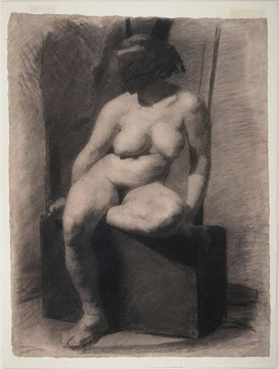 Thomas Eakins, Study of a Seated Nude Woman Wearing a Mask, 1863-66 According to the Philadelphia Museum of Art, Eakins most likely made this study during an evening life drawing class at the Pennsylvania Academy of Fine Arts. Official Academy policy prohibited models from posing nude before mixed-sex classes, as did nearly all American art schools at that time. In order to disguise her identity, therefore, a model might turn her back to the students—or cover her face with a mask.