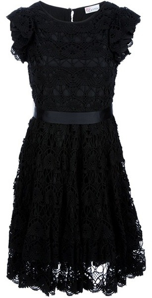 RED Valentino Crochet Sash Dress:  Black cotton dress from Red Valentino featuring a round neck, short capped frilly sleeves, a sash tie fitted waist, a crochet design all over with a black sheen underlining and a scalloped hem.