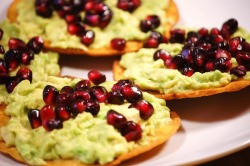 Avocado and pomegranate toastadas, yum!