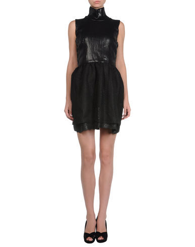 RED Valentino Short dress: Fall-Winter - funnel neckline, sleeveless, lined interior, heavy-weight sweater, solid color, side closure, zip closure