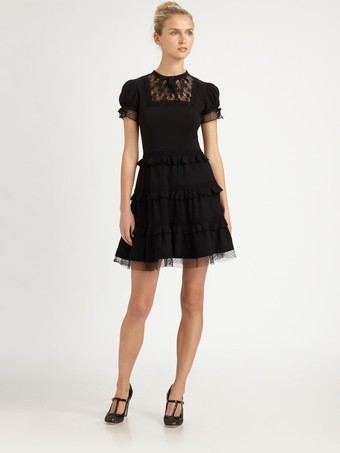 RED Valentino Lace/Ruffle Dress with a tiered ruffle skirt