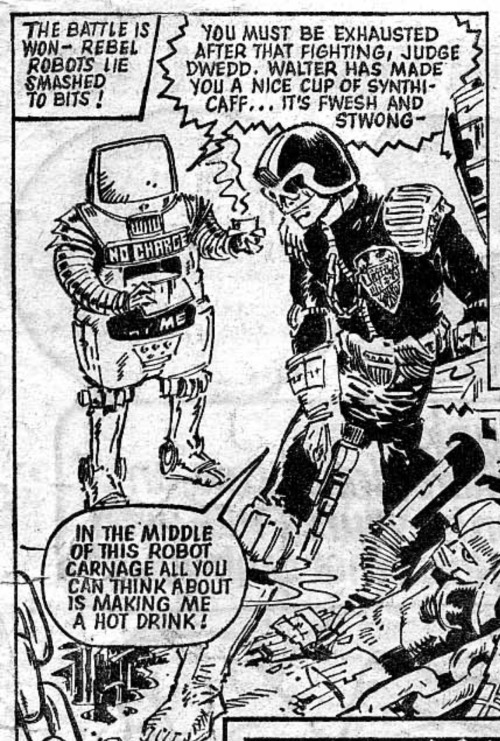 fabxxl:  2000AD Prog 15. Judge Dredd. Sometimes the hilarity is deliberate. I love Walter.