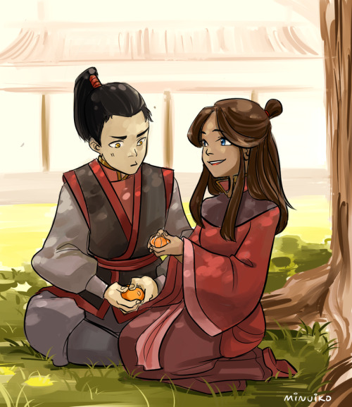 scarf-lord:  A scene from Tempest in a Teacup, a Zutara AU in which Katara is captured in a fire nation raid and raised under Iroh (and becomes childhood friends with Zuko). For Zutara week Katara, Zuko (c) BrykeTIAT (c) AkaVertigoArt (c) Minuiko  art by: Minuiko