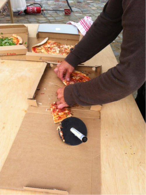 PIZZA. And improvised cutter..