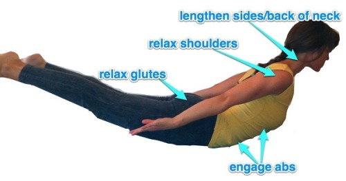 "5 Backbending Tips - In Acronym Form! B.A.N.G.S. - B(reathe) A(bdominals) N(eck) G(lutes) S(houlders) By Rebecca Ketchu Read on for five pointers that have helped me approach a back-bend like a responsible adult (!) with more satya (truth) and ahimsa (non-violence).   Here's an acronym to help: B(reathe) A(bdominals) N(eck) G(lutes) S(houlders)  1. Breathe! To me, this is a ""Golden Rule"" of the yoga practice: If you're in any pose (or life situation) that prevents you from breathing easily then readjust so that you can. This might mean coming out of the back-bend a little until you find more space in the spine, lungs, and diaphragm.2. Abdominals – keep them engaged. We have the tendency to dump and release the front side of the body when back-bending. While thoroughly stretching the front body is a major bonus in back-bends, try gently drawing the navel towards the spine and engaging the deeper muscles of the front body without gripping. You will still get the glorious stretch but will take some of the strain out of your lower back in the meantime.3. Neck – lengthen through the back and sides not just the front. Instead of compressing the vertebrae at the back of the neck, feel energy growing out through the crown of your head. Imagine someone is gently pulling you up by your ears.4. Glutes – release them. With practice you can begin to isolate and let go of the tension in the glutes. This release frees up the sacrum and lower back. This will also prevent external rotation in your thighs which will keep your knees and ankles safely aligned.5. Shoulders – Float them away from the ears. We tend to shrug our shoulders when back bending. Exhale the shoulders away from your ears without pushing down on them from the top. Instead, gently initiate the movement from the base of your shoulder blades."