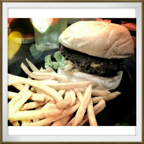07.19.2012 Jackhammer burger with @mushroomkaboom :D #2012 #photoblog #burger #foodblog #food #ija #mandy #design #sda #thesis #friends #blog #college #memories #;) (Taken with Instagram)