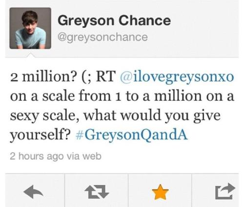 greysonsparkle:  asdfghjkl 2 million. WTF! Greyson hotness overload.