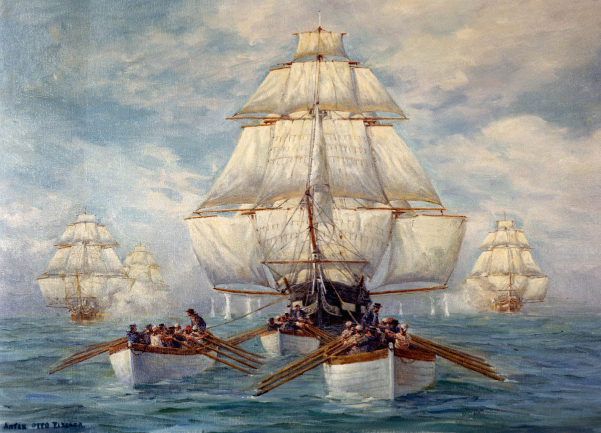 On 19 July 1812, United States Frigate Constitution escaped from a British squadron after a three day chase off New Jersey, in the first weeks of the War of 1812. This painting by Anton Otto Fischer depicts Constitution's boats towing her in a calm, with the British squadron in hot pursuit. Courtesy of the U.S. Navy Art Collection, Washington, D.C. Gift of Katrina S. Fischer. NHHC Photograph Collection, NH 85543-KN. (read more about the chase here)