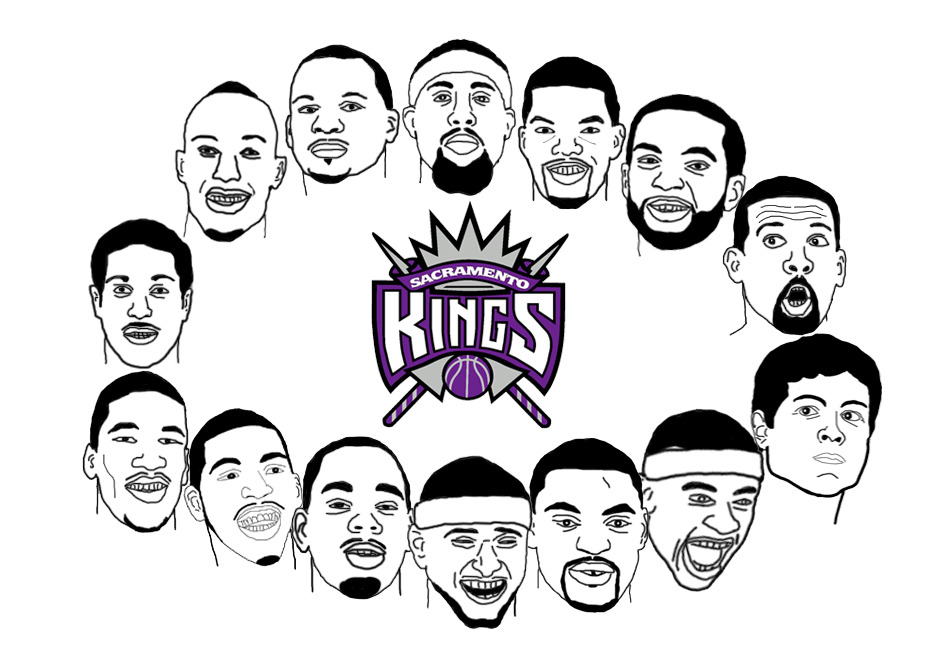 nbamashups:  2012-13 Kings sketched in Photoshop