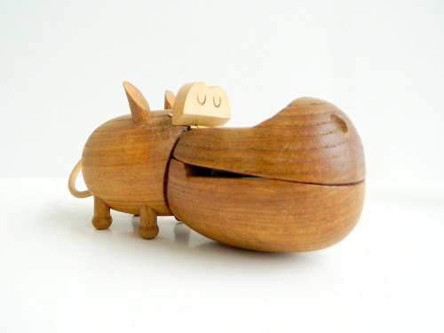 Zoo Line Danish Modern Wood Hippo 1959 - MonkiVintage