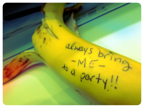 So I got a banana to nosh on this morning at work. Then this happened. I regret nothing.
