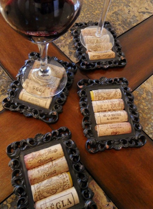 Coasters from corks and old picture frame.