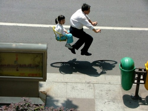 'Floating' Invisible Bicycle Photos by Zhao Huasen • Highsnobiety @highsnobiety.com