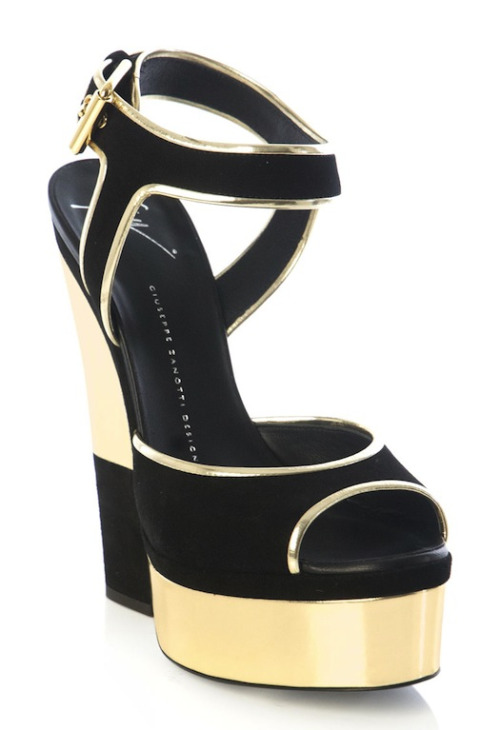 Giuseppe Zanotti Gold and Suede Cut-out Wedge Platform Sandals