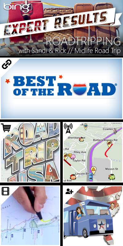 "Gas up and go with these road-tested and approved picks from Experts Sandi and Rick of Midlife Road Trip. Happy trails! BLOG POST // BEST OF THE ROAD""Tips, tricks and road-ready advice from real people who love to travel."" SHOPPING // THE ULTIMATE ROADTRIP BOOK""Road Trip USA: Cross-Country Adventures on America's Two-Lane Highways by Jamie Jensen is a best-selling guide that covers 40,000 miles of great American highways."" NEWS ARTICLE // MUST-HAVE ROADTRIP APPS""Gas and even clean bathrooms can be all found through apps on your phone. You'll never be stuck with a gross gas station pit stop again!"" VIDEO // HOW TO: CHEAP ROADTRIPS""This Howcast breaks down just what you'll need and how to prepare for a cheap summer road trip."" FRIENDS WHO KNOW // @COUPLEOFSPORTS""A young married couple traveling in an RV across the USA attending and participating in unique and quintessential sporting events."""