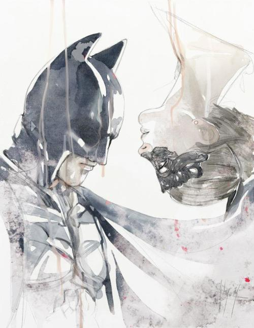 Illustration batman watercolor The Dark Knight Rises catwoman anmom Anthony Taysub