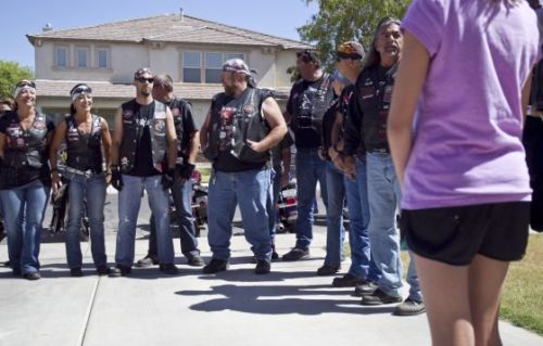 "goodstuffhappenedtoday:  Bikers Against Child Abuse make abuse victims feel safe These tough bikers have a soft spot: aiding child-abuse victims. Anytime, anywhere, for as long as it takes the child to feel safe, these leather-clad guardians will stand tall and strong against the dark, and the fear, and those who seek to harm.  The 11-year-old girl hears the rumble of their motorcycles, rich and deep, long before she sees them. She chews her bottom lip, nervous. They are coming for her. The bikers roar into sight, a pack of them, long-haired and tattooed, with heavy boots and leather vests, and some riding double. They circle the usually quiet Gilbert cul-de-sac, and the noise pulls neighbors from behind slatted wood blinds and glossy front doors. One biker stops at the mouth of the street, parks in the middle of the road and stands guard next to his motorcycle, arms crossed. The rest back up to the curb in front of the girl's house, almost in formation, parking side by side. There are 14 motorcycles in all, mostly black and shiny chrome. The bikers rev their engines again before shutting them down. The sudden silence is deafening. The girl's mother takes her hand. The leader of this motorcycle club is a 55-year-old man who has a salt-and-pepper Fu Manchu and wears his hair down past his shoulders. He eases off his 2000 Harley Road King and approaches the little girl. He is formidable, and intimidating, and he knows it. So he bends low in front of the little girl and puts out his hand, tanned and weathered from the sun and wind: ""Hi, I'm Pipes."" ""Nice to meet you,"" she says softly, her small hand disappearing in his. ….The unruly-looking mob in her driveway is there to help her feel safe again. They are members of the Arizona chapter of Bikers Against Child Abuse International, and they wear their motto on their black leather vests and T-shirts: ""No child deserves to live in fear.""  Read more: http://www.azcentral.com/news/azliving/articles/2012/07/13/20120713bikers-against-child-abuse-make-abuse-victims-feel-safe.html?page=1#ixzz214xfChtS"