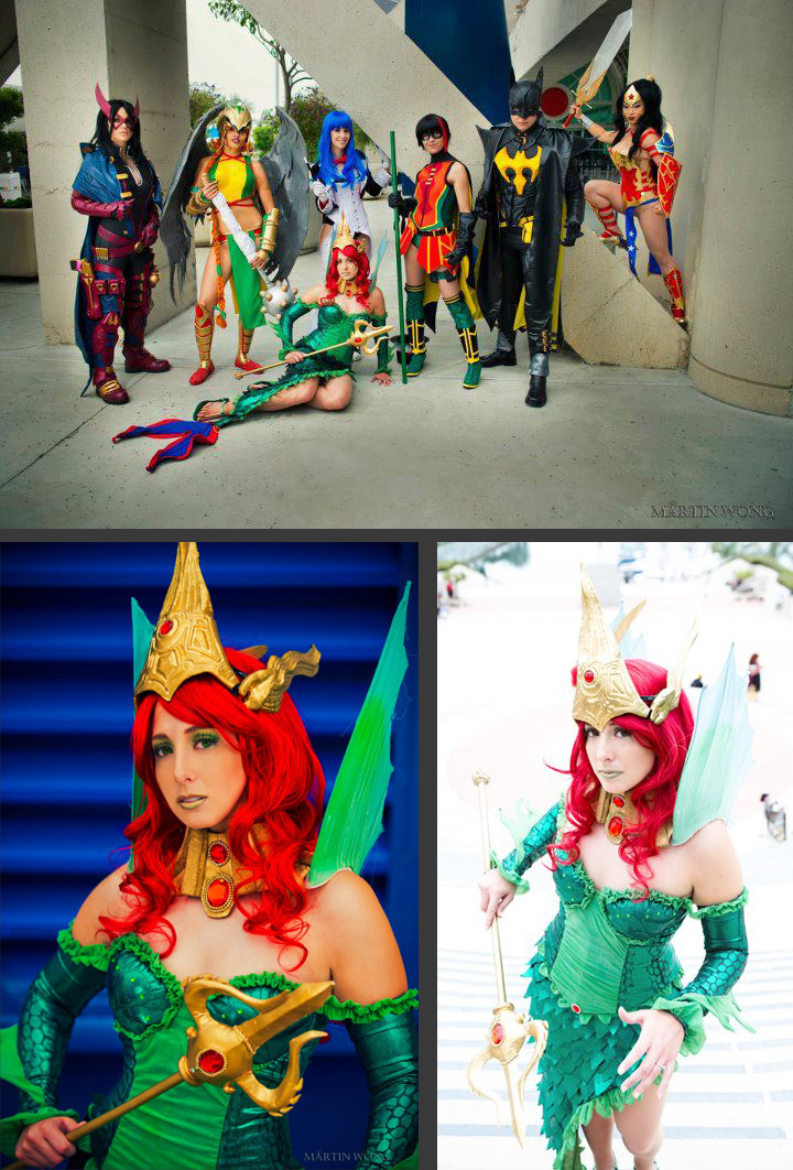 kannaya:  DC Ame-Comi Cosplay Group Huntress, Hawkgirl, Zatanna, Robin, Batman, Wonder Women, Mera  Hey, would you ever do a Red Lantern Mera?