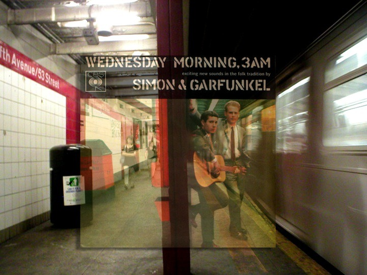 "badwolfday:  Vinyl Covers Transposed Over Original NYC Locations These photomontage images by photographer Bob Egan are a sea of nostalgia. The photographer is inspired by all kinds of historical pop culture events and, referring to himself as a ""pop culture/rock and roll detective,"" Egan tracks down locations across mainly New York City to visually recreate various moments. Specifically in this series, the photographer is influenced by original vinyl covers of popular musicians. Based on a ton of research and investigation, he identifies where an album cover photo was taken, visits the location, and then uses Photoshop to merge the old cover images with new snapshots of each place."